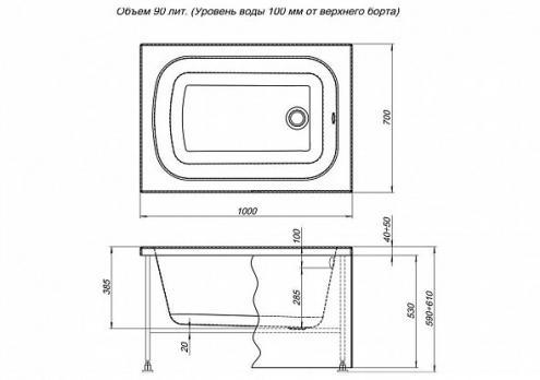 Ванна акриловая Aquanet Seed 100x70