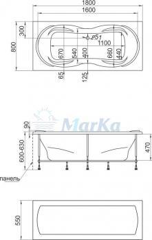 Ванна акриловая 1Marka - MARKA ONE Dinamika (Динамика) 180x80