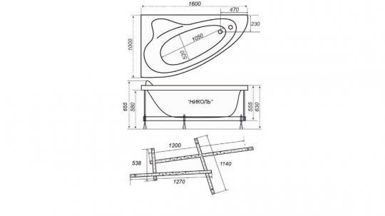 Ванна акриловая Тритон Николь 160x100x63 правая без гидромассажа