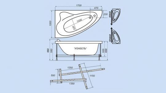 Ванна акриловая Тритон Изабель 170x100x63 левая без гидромассажа