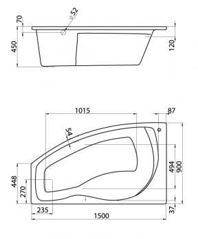 Ванна акриловая SANTEK МАЙОРКА 150x90 L левая