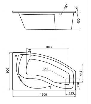 Ванна акриловая SANTEK МАЙОРКА 150x90 R правая