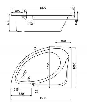 Ванна акриловая SANTEK ГОА 150x100 левая