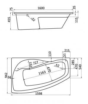 Ванна акриловая SANTEK МАЙОРКА XL 160х95 левая