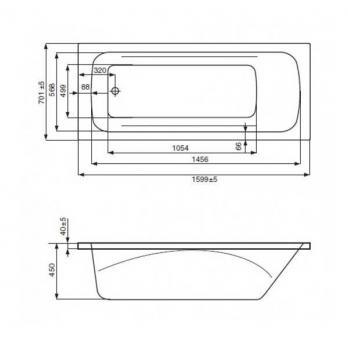 Ванна акриловая ROCA Line 150x70 ZRU9302982 белая