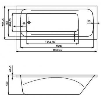 Ванна акриловая ROCA Line 170x70 ZRU9302924 белая