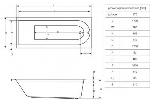 Ванна акриловая ACTIMA Aurum 170x70 Excellent