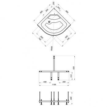 Душевая кабина Тритон Стандарт Б3 90x90 + душевой набор ДН3 с тропическим душем