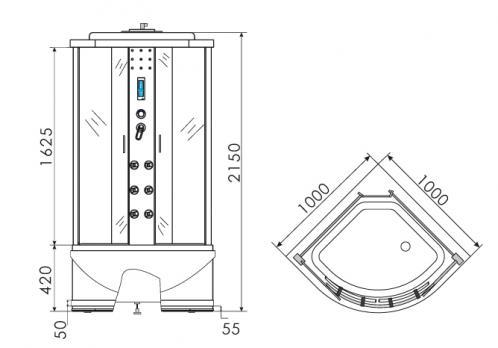 Душевая кабина ERLIT ER 4510 TP-C3 100x100 матовая