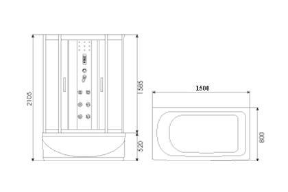Душевая кабина ERLIT-MIRWELL 3515 TP-C3 150x80 матовая