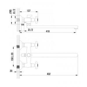 Смеситель Lemark Standard для ванны LM2112С