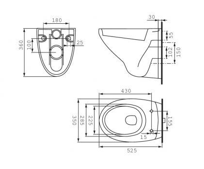 Комплект инсталляции CERSANIT VECTOR + DELFI унитаз сид микролифт, кнопка матовая MOVI