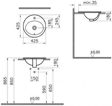 Раковина накладная VitrA S 20 5466B003-0001 43 см.