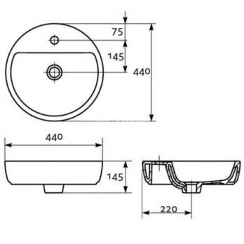 Раковина накладная Cersanit CASPIA RING 44 см