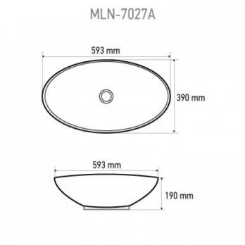 Раковина накладная MELANA MLN-7027A 3076 593x390x190