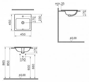 Раковина накладная VitrA S 20 5463B003-0001 45 см.