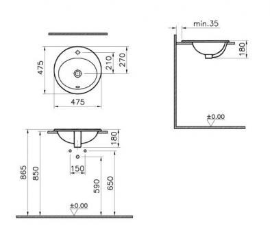 Раковина накладная VitrA S 20 5467B003-0001 48 см.