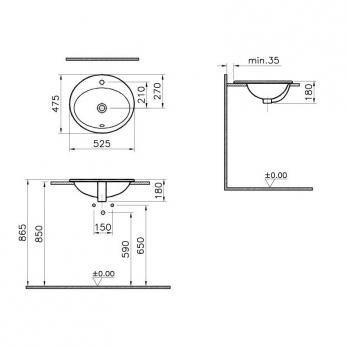 Раковина накладная VitrA S 20 5468B003-0001 53 см.