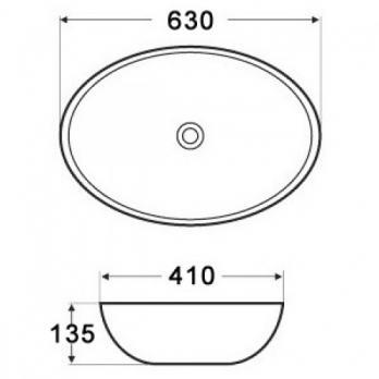Раковина накладная MELANA MLN-7686 630х415 мм