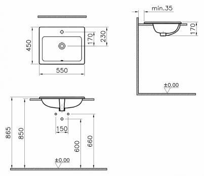 Раковина накладная VitrA S 20 5465B003-0001 55 см.