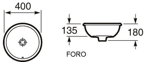 Roca Foro раковина встраиваемая на столешницу 40 см 327872000