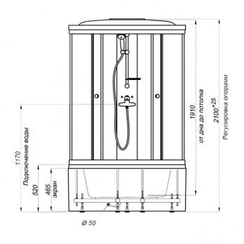 Душевая кабина Тритон РИФ Б3 90x90 + душевой гарнитур ДН1 с крышей(выставочный образец)