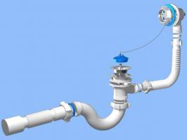 Сифон-обвязка АниПласт для ванны (пробка на цепочке) Е-255 круглый с переливом