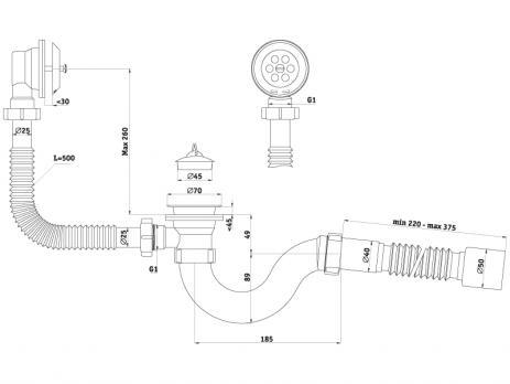 Сифон-обвязка АниПласт для ванны (пробка на цепочке) Е-155 круглый с переливом