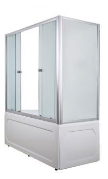Шторка для ванной 1Марка 160х140 с белым профилем матовое стекло