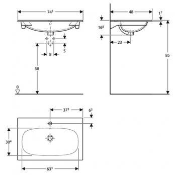 Раковина встраиваемая Keramag - Acanto Slim 75x48 (500.641.01.2)