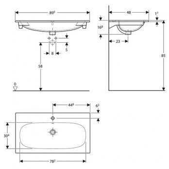 Раковина встраиваемая Keramag - Acanto Slim 90x48 (500.642.01.2)
