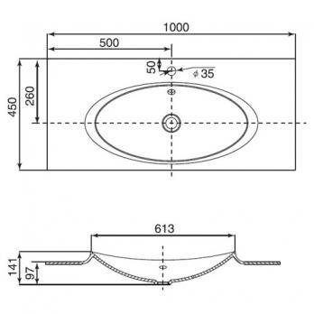 Раковина накладная Roca - Laks 100x45 (327207000)