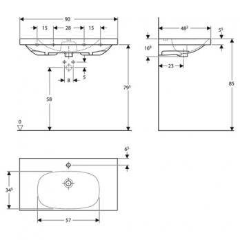 Раковина встраиваемая Keramag - Acanto 90x48 (500.623.01.2)