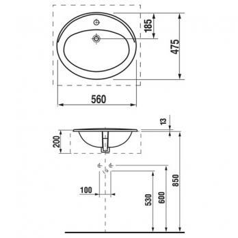 Раковина встраиваемая Roca - Adora 56x46.5 (327203000)