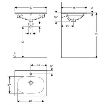 Раковина встраиваемая Keramag - Acanto Slim 60x48 (500.640.01.2)