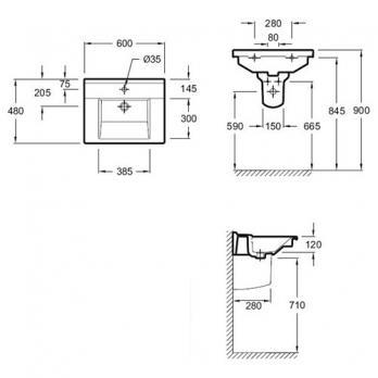 Раковина Jacob Delafon - Struktura 60x48 (EXI112-00)