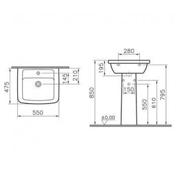 Раковина + пьедестал Vitra - Form 300 55x47.5 (9602B003-7650)