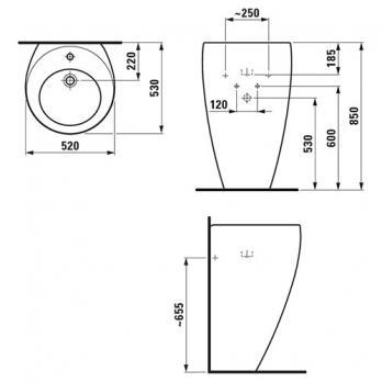 Раковина с пьедесталом Laufen - Alessi 52x53 (8.1197.1.400.104.1)