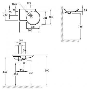 Раковина настенная Jacob Delafon - Spherik 60x46 ( E4501-00)
