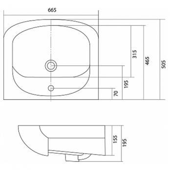 Раковина накладная Акватон - Акваполо 65 (1WH110162)