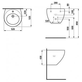 Раковина настенная Laufen - Alessi 52x52 (8.1097.1.400.104.1)