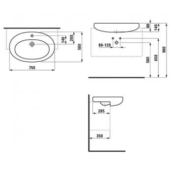 Раковина полувстраиваемая Laufen - Alessi 75x50 (8.1397.2.400.104.1)