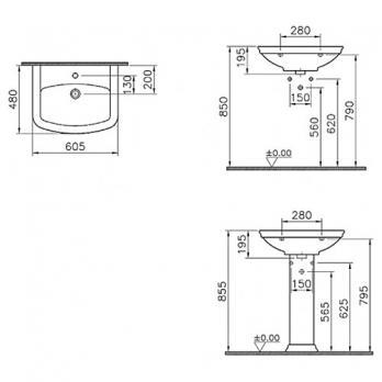 Раковина Vitra - Serenada 60.5x48 (4167B003-0001)