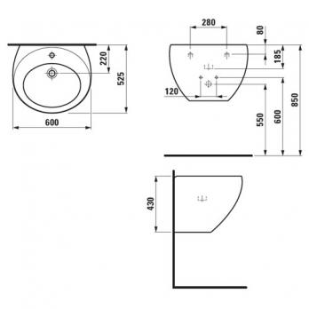 Раковина настенная Laufen - Alessi 60x52.5 (8.1097.2.400.104.1)
