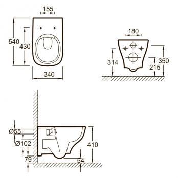 Унитаз напольный безободковый Jacob Delafon - Struktura UJX102-00+ETE212-00