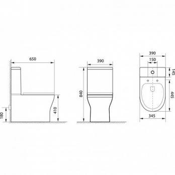 Унитаз напольный Aquanet Rimless Roll-C CL-12249B микролифт SLIM с бачком
