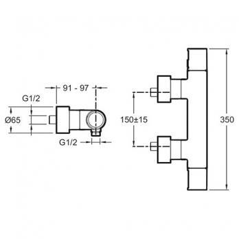 Термостатический смеситель для душа Jacob Delafon - Composed (E73164-CP)