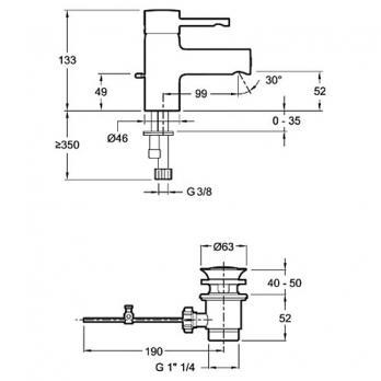 Смеситель для раковины Jacob Delafon - Cuff (E37301-CP)