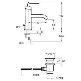 Смеситель для раковины Jacob Delafon - Purist (E14402-4A-CP)