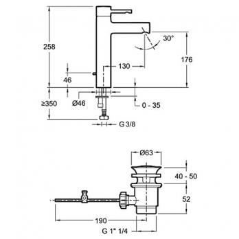 Смеситель для раковины Jacob Delafon - Cuff (E37303-CP)